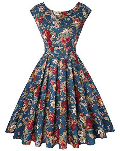 MINTLIMIT Damen Audrey Hepburn Rockabilly Vintage Kleid 1950s Retro Cocktail Schwingen Partykleid(Floral Navy blau,Größe XXL)