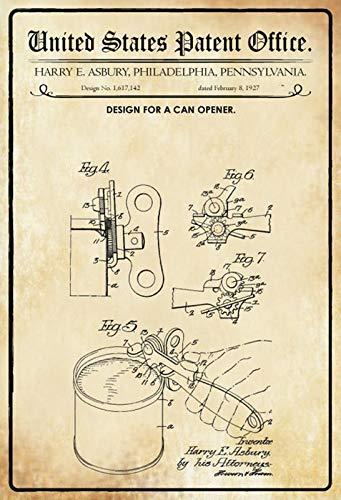 Blechschild 20x30cm Patent Entwurf für einen Dosenöffner 1927 Schild Tin Sign