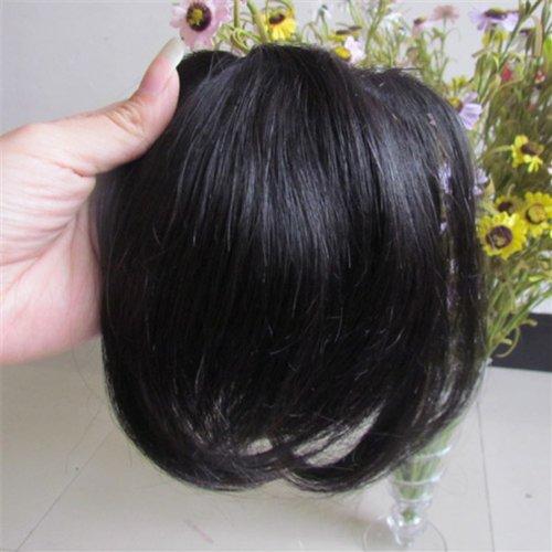 20,3 cm Jet Noir (# 01) Vrais Cheveux Humains Cheveux Fashion avant Neat Bang franges One cheveux