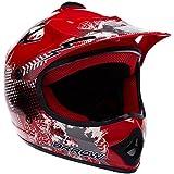 ARROW AKC-49 Red Cross Casque pour enfants Kids MX Helmet Enduro Sport Cross-Bike Junior Pocket-Bike Kids, DOT certifiés, compris le sac de casque, Rouge, M (55-56cm)