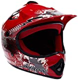 "ARMOR · AKC-49 ""Red"" (Rot) · Kinder-Cross Helm · Moto-Cross Kinder Off-Road Sport Enduro Motorrad · DOT certified · Click-n-Secure™ Clip · Tragetasche · M (55-56cm)"