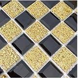 HNZZN Crystal Kantenschleifen Glas Mosaik Hintergrund Wandfliese Wohnzimmer Wand Aufkleber Golden KTV Badewanne Dusche Mosaik Fliesen, 3.