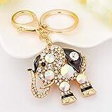 WXH Weibliche Schlüsselkolore Gemstone Keychain Crystal Elephant Key Buckle-Car Key Buckle Bag Mobile Dekorative Pendant Gift (Sechs Farben verfügbar),Black