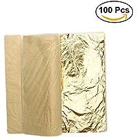 ULTNICE Imitation Feuille d'or pour Décoration Emballage Encadrements Artisanat Décoration 100 Feuilles