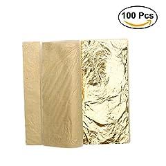 Idea Regalo - ULTNICE Fogli d'oro fogli imitazione d'oro per artigianato artigianale artigianale 100 fogli