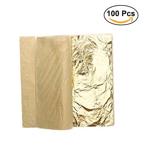 ULTNICE Imitation Feuille d'or pour Décoration Emballage Encadrements Artisanat Décoration 100 Feuilles ULTNICE