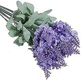 Broadfashion - 10 fiori in seta, prodotto artificiale, motivo: lavanda per bouquet; prodotto adatto per la casa, decorazione in occasione di feste chiaro viola
