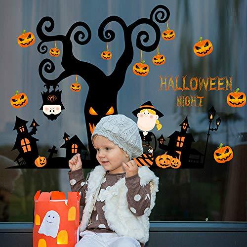 Yuxan Wandaufkleber 3D DIY Halloween Kürbis Skelett Nacht Baum Abnehmbare Schlafzimmer Wohnzimmer Boden Decor Fenster 42x57 cm