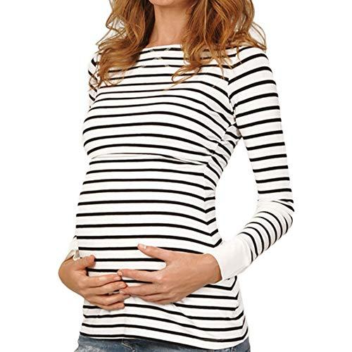 LHWY Umstandsmode Damen Pullover Frauen Mutter Schwangere Pflege Tshirt Sommer Frühling Bluse Baby Mutterschaft Langarm Streifen Tops Kleiden -