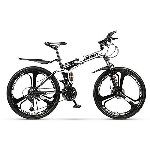 DRAKE18 Faltendes Mountainbike, 26-Zoll-30-Gang-Offroad-Fahrrad mit Variabler Geschwindigkeit und doppelter Stoßdämpfung,White