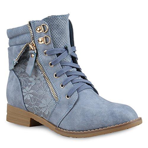 Stiefelparadies Damen Stiefeletten Schnürstiefeletten Leder-Optik Schuhe Spitzenstoff Boots Zipper Schnürboots 130899 Blau Spitze 36 Flandell