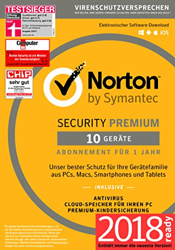 Norton Security Premium | 10 Geräte | PC/Mac/Smartphone/Tablet | Download