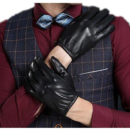 JQAM Uomo autunno inverno vera pelle Business caldo Touchscreen Jacquard guanti guida all'aperto ciclismo antivento (Scopo Esterno Raso)