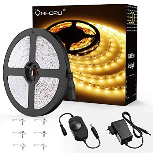 Onforu 5M LED Strip Dimmbar, LED Streifen 300 LEDs Lichtband Stripes 3000K Warmweiß, Selbstklebend 2835 LED Band mit Netzteil, 12V Innenbeleuchtung für Party Küche Weihnachten Haus Deko