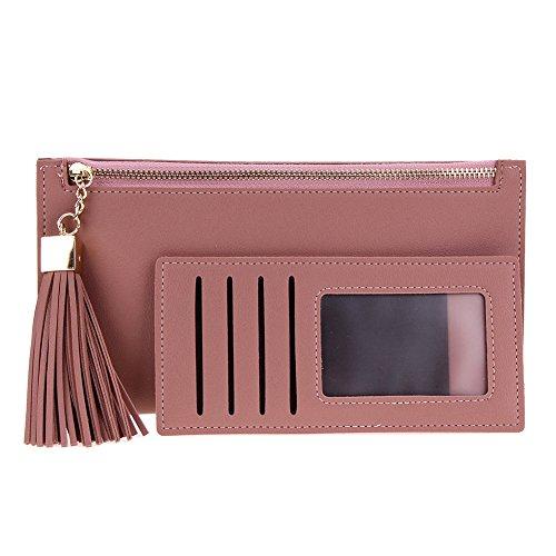 Amazingdeal365 Donne Pu Pelle Lungo Portafogli Fiocco Zipper Card Telefono Borsa Frizione (Rosso) Fagiolo Rosso