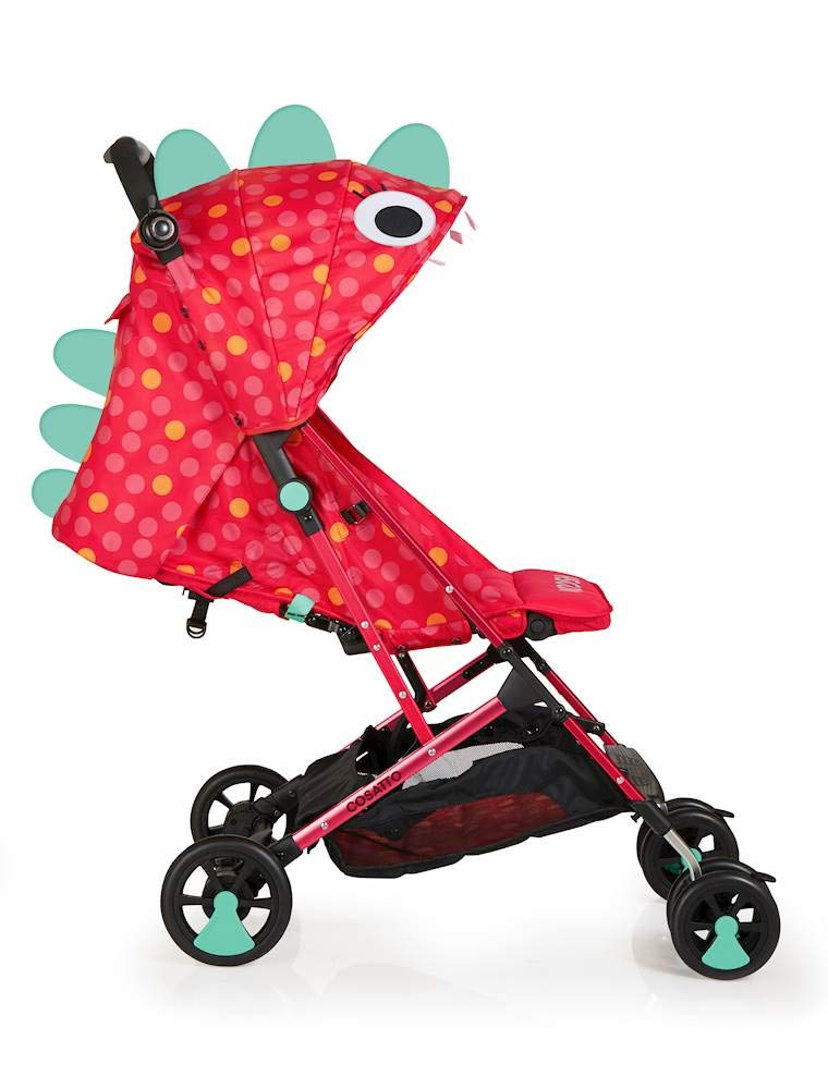 Cosatto Woosh Stroller, from Birth to 25 kg, Miss Dinomite Cosatto Woosh is a from birth pushchair suitable from birth to 25 kg Easy, compact concertina fold with auto lock, woosh is ultra-lightweight at 6 kg Woosh has a upf100+ double-tiered hood and extendable visor 5