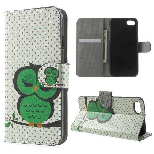 jbTec® Flip Case Handy-Hülle zu Apple iPhone 7 - BOOK MOTIV #02 - Handy-Tasche, Schutz-Hülle, Cover, Handyhülle, Ständer, Bookstyle, Booklet, Motiv / Muster:Weiße Blumen B04 Grüne Eule E33