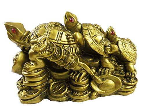Eshoppee Vastu Fengshui Triple Tortoise Turtle Family For Protection, Good Luck, Wealth And Longevity