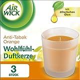 Air Wick Wohlfühl-Duftkerze Orange, Anti-Tabak Kerze, Dekokerzen, 3 Stück