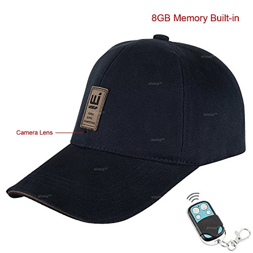 WISEUP 16GB 1080P HD Wearable Pinhole Video Spy Camera Baseball Cap Hat Mounted Action Camera 2.4G Remote Control with Hidden Audio Recording