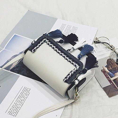 TPulling Frauen-Neue Art- Und Weisefeste Damen-Schlag-Farben-Troddel Kleine Quadratische Beutelart Und Weiseschulter-Beutelfreizeit Kuriertasche Weiß