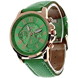 Zolimx Women's Roman Numerals Faux Leather Analog Quartz Wrist Watch Green