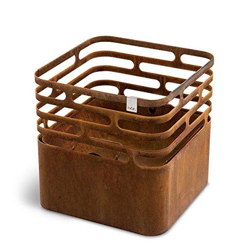 höfats - CUBE Feuerkorb - als Feuerstelle, Grill, Hocker und Tisch - für Garten und Terrasse - Corten-Stahl - Rost-Optik (Feuerstelle-grill)