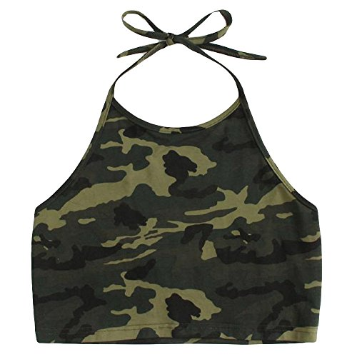 MORETIME Damen Sexy Weste Mode Camisole Camouflage Printing Sleeveless T-Shirt -