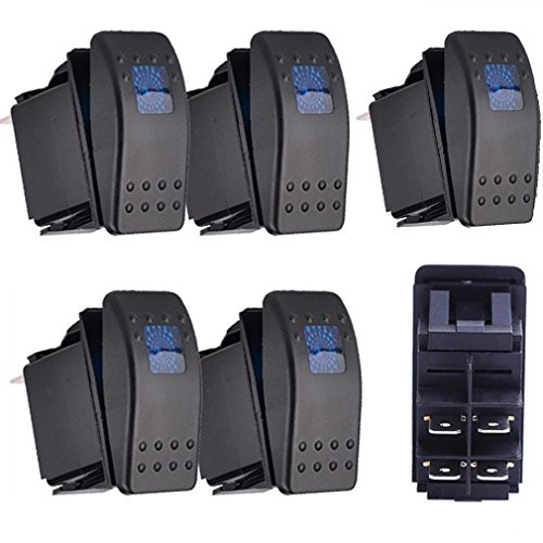 12v Kfz-schalter (Qiorange 5x KFZ Auto Offroad Kippschalter Druckschalter Schalter Wippschalter Wasserdicht 12V 20A Blau LED Licht 4Pin AN/AUS)