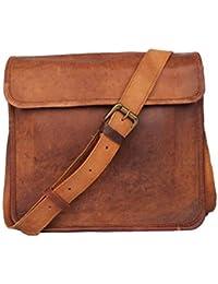 """9""""Half Flap Genuine Leather Handmade Satchel Messenger Unisex Shoulder Bag Daily Use."""