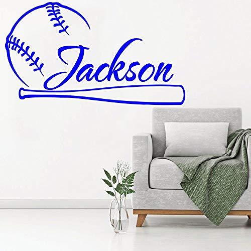 Shentop Wandtattoo Baseball Vinyl Sport Aufkleber Benutzerdefinierte Personalisierte Name Teens Kinder Jungen Kinder Schlafzimmer Haus Dekor Poster DIY 32x57 cm -