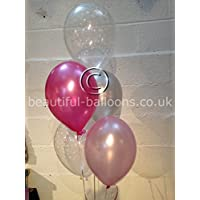15x Sparkle Stars Pearlised Latex Balloons Pink & Silver Range (Helium Quality) by Beautiful Balloons