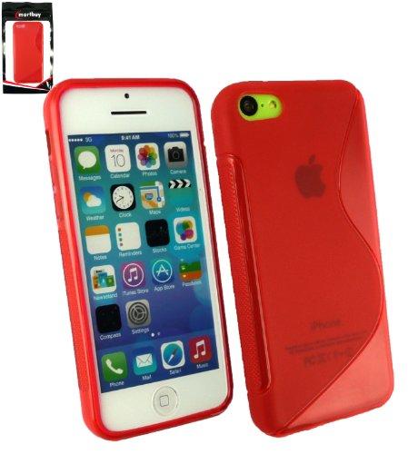 Emartbuy® Apple Iphone 5c Protecteur D'Écran LCD Et Onde De Gel Couverture / Étui / Housse De Peau Rouge