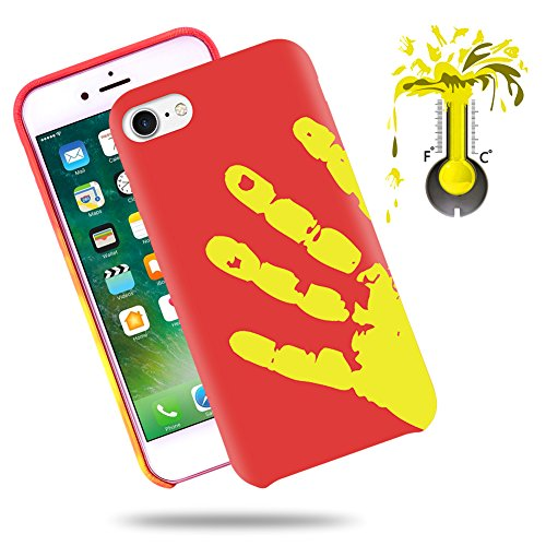 Soundmae Case For iPhone 7 4.7 Cover Physical Color Changing Thermal Case Magical DIY Pattern Design Epoptic Heat-Sensitive Matte Surface TPU Back Cover for iPhone 7 4.7 - Black turn to Red Red turn to Yellow