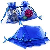 jijAcraft Blue Organza Bags,100 PCS 7CM X9 CM (2.8X3.5) Organza Gift Bags, Small Drawstring Jewelry Pouches, Wedding Favor Bags, Candy Bags