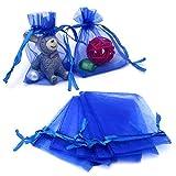 100PCS Borse in organza,Sacchetti regalo grande organza, 7X9CM Sacchetti di gioielli coulisse e sacchetti di caramelle per bomboniere(blu)