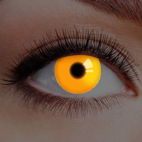 Kostüm Fire Clown - Farbige Kontaktlinsen Orange Ohne Stärke mit Motiv Linsen Halloween Karneval Fasching Cosplay Kostüm Eyes Augen UV Fire Crazy Horror Clown Verrückter