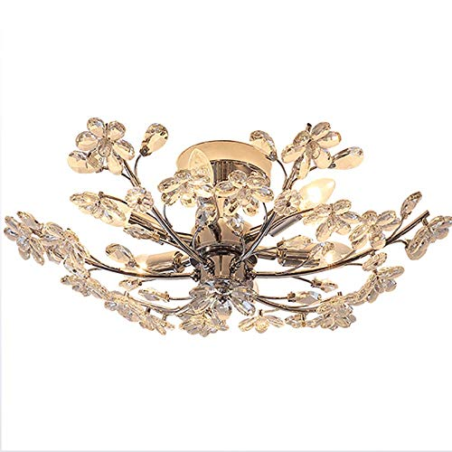 SELMAL Crystal Ceiling Light, Flush Mount Crystal Ceiling Light, Petal-Shaped Transparent Crystal Chandelier für Bedroom Hotel Living Room,Withoutlightsource,58 * 20cm - Crystal Ceiling Mount