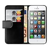 iPhone SE, iPhone 5 / 5s Lederhülle | JAMMYLIZARD Ledertasche [ Wallet Series ] Leder Hülle Flip Case Cover Schutzhülle mit Kartenfach, Schwarz