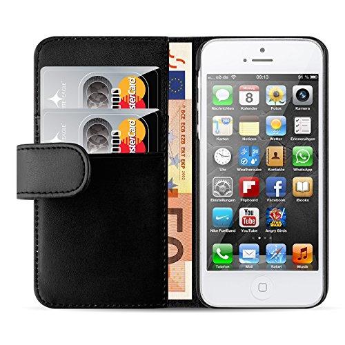 JAMMYLIZARD Lederhülle für iPhone SE und iPhone 5 / 5s | Ledertasche [ Wallet Tasche Series ] Leder Book Case Hülle Flip Cover Schutzhülle mit Kartenfach, Schwarz