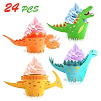Unique Store 24 Pack Dinosaur Cupcake Wrappers for Birthday Party Kids Party
