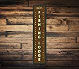 Zor345damilla Fishing Lodge Schild, personalisierbar, vertikale Angler Namenschild,...