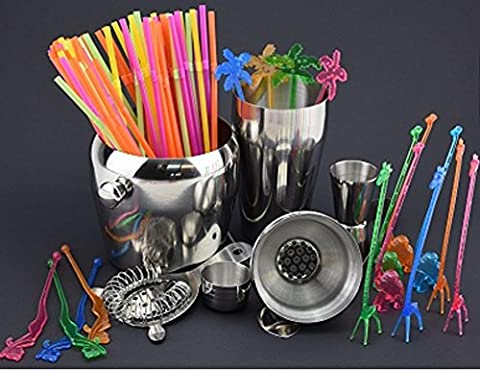 be4To® Cocktail Mixer 6 Piece Set with 80Coloured Drinking Straws