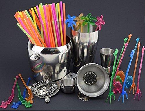 be4To® Cocktailmixerset 6 teilig SPEZIALSET zusätzlich 80 bunte Trinkhalme , und zusätzlich 14 Cocktailrührer