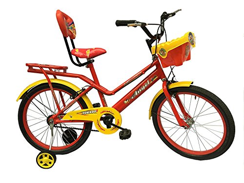 Torado Stitch 20 Inches Bicycle with Carrier and Basket for 7-10 Years Girls (Red)