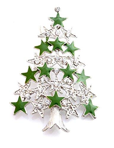 Sapin de Noël émail et cristal-Badge broche Broche (dans une pochette d'Organza).