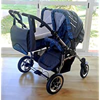Carro doble niños diferentes edades. Un capazo+2 sillas+accesorios. Gris+azul