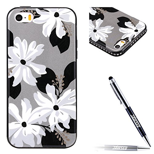iPhone 5S Hülle,iPhone SE Schutzhülle,JAWSEU [Bling Glitzer Kristall Strass Diamant Hülle] iPhone SE 5 5S Silikon Hülle,Elegant Rosa Weiß Blumen Floral Muster Ultra Dünn Flexibel Ultra Dünn Flexibel S Blumen #4