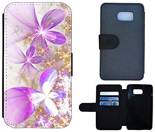 Cover Coque de Protection Housse Etui Case Flip pour, Tissu, 1006 Delfin Delphin, Apple iPhone 5 / 5S 1000 Blume Lila Gold Weiß