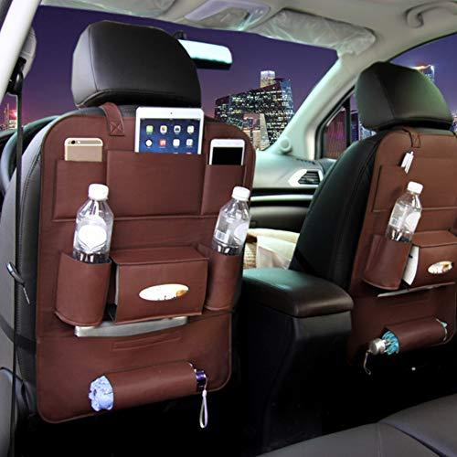 QLING Auto Rücksitz-Organizer, wasserdicht, multifunktionaler Autositzschutz, Kick-Matte, Autositz-Organizer, mehrere Taschen für Handy, Wasserflasche, Regenschirm, Snack und mehr, braun, Free Size